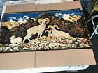 """Vintage Mountain Goats  on the Wall Tapestry LG 37"""" x 19"""" Cabin Lodge Art"""