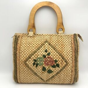 Vintage Woven Straw Roses Tote Bag Purse Retro Boho Beach Floral Wooden Handles