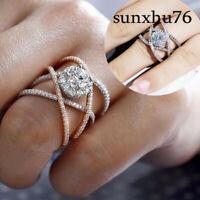Fashion Women Silver Filled White Sapphire Ring Engagement Wedding