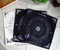 Magic Pentacle Runes Tarot Altar Table Cloth Black/Sliver/White Table Pendulum