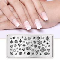 HARUNOUTA Nail Stamping Plates Rectangle Snowflake Nail Art Stamp Plate