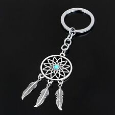 Turquoise Beads Dream Catcher Keychain Feather Tree Leaf Tassels Keyrings