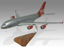 Airbus A380 Virgin Atlantic Silver Livery Wood Handcrafted Desktop Model