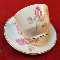 Crown Staffordshire England tea cup & saucer floral flowers fine bone china