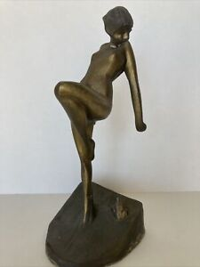 Sarsaparilla Vintage Frankart Metal Sculpture of Nude Nymph Standing by Frog
