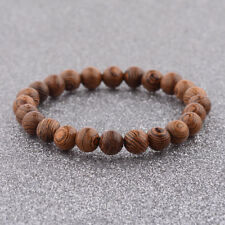 Sandalwood Beaded Gemstone Round Beads Stretchy Men Charm Bracelets Bangle Gift