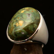 Excellent crafted Mens Gemstone Ring with Green Jasper Sterling Silver Size 10.5