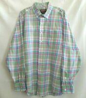 Vineyard Vines Mens Murray Oxford Shirt White Plaid Long Sleeve Pocket Cotton XL