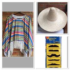 Mexican Poncho & Sombrero Hat Party Fancy Dress Cowboy Bandit Fiesta Costume