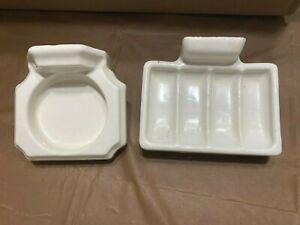 Vintage White Sink Set: Ceramic Bathroom Soap Dish & Cup Holder Original