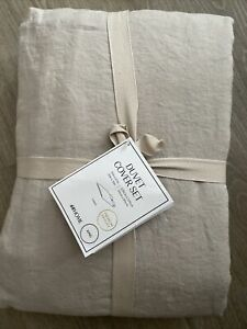 H&M Home Linen Duvet Cover Set King New Beige
