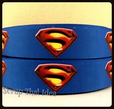 "Superman RIBBON. 1"" Printed Grosgrain. Scrapbooking/Craft. Superhero. LARGE LOGO"