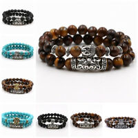 2 Pcs Women Men's Natural Lava Stone Buddha Lion's Leopard Skull Beads Bracelets