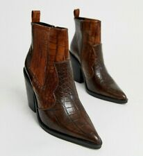 ASOS Design Elliot Western Ankle Boots UK 2 Brown Croc Cowboy Pointed Toe New