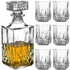 7pc Glass Whiskey Wine TUMBLERS & Square Glass DECANTER Bottle Boxed Set