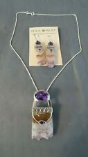 AMETHYST and Sterling Silver necklace and earrings set Fine Jewelry  FREE Ship