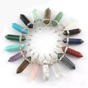 Natural Quartz Crystal Stone Point Chakra Reiki Healing Gemstone Pendant