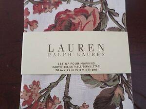 New Ralph Lauren Grace Floral Cream Rust Red Green Napkins 4pc