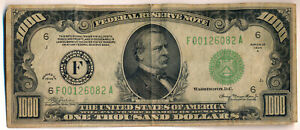 1934 A $1000 FEDERAL RESERVE NOTE ~ATLANTA DISTRICT~  **NICELY CIRCULATED**