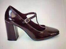 "FIONA ""Haddie"" Patent Block Heel T Strap Granny Retro Style Heels Maroon Wine 7M"