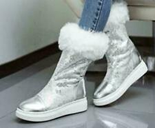 Womens Glitter Sequins Fur Lined Mid Calf Snow Boots Platform Christmas Shoes Ne