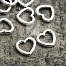 100pcs Connector Links Charm Pendant Tibetan Silver Heart 10x11x2mm IW