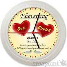 #102 Wanduhr  -> Ehevertrag <- Hochzeit Geschenk Uhr