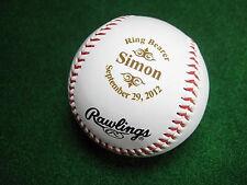 Personalized Engraved Baseball Groomsman Ring Bearer Gift Logo Style Rawlings
