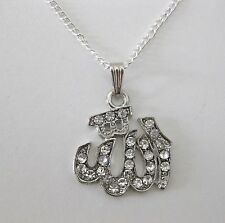 """NEW ALLAH ISLAMIC NECKLACE ON 18"""" SILVER CHAIN. ZIRCONIA CRYSTALS,MUSLIM GIFT.R2"""