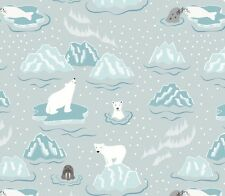 WALRUS & FRIENDS ON ICY GREY BY LEWIS & IRENE - COTTON FABRIC FQ'S