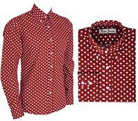 Men's Retro Burgundy Polka Dot Long Sleeve Button Down Shirt Mod Vintage S - XXL