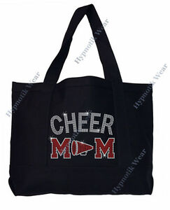 "Rhinestone Sturdy Tote Bag with "" Cheer Mom w/ Megaphone "" in Various Colors"