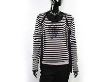 AMBIENTE Twinset Shirt & Cardigan Gr.L+XL Schwarz-Rosa gestreift Mit Strass TOP