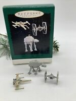 3 Hallmark Star Wars Miniature Ornaments Jedi Council Vehicles Millennium Tie