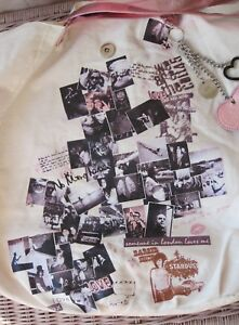 Rare! Vtg Boho Rock Chick Love Music Graffiti Tattoo Print Black Pink Heart Bag
