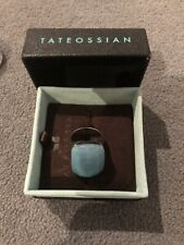 Tateossian Chunky Sterling Silver Turquoise Blue Semiprecious Stone Ring Size 10