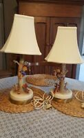 M I Hummel Goebel  Culprit & Out of Danger Working Lamps Vintage PAIR.