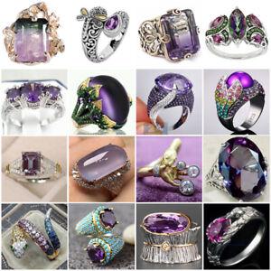 925 Silver Round Cut Purple Amethyst Gem Wedding Band Ring Gift Size 6-10