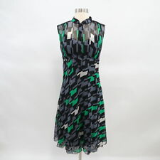 DVF Finola Shirt Midi Dress Silk Chiffon Lace Womens Sz 8 Gray Green White Sheer