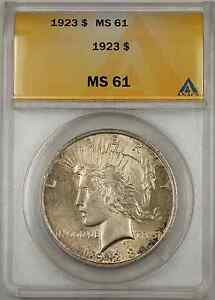 1923 Peace Silver Dollar Coin ANACS $1 MS-61 (Toned Better Coin 8A)