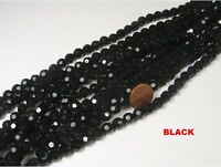 10 STRANDS 8MM BLACK ROUND FACETED GLASS BEADS LOT (AX1)