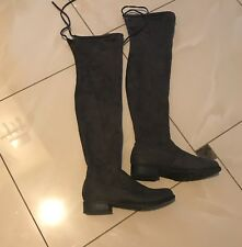 Over the Knee Dark Grey Faux Suede Boots - 6.5