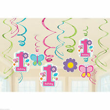 1st Sweet Birthday Girl Foil Swirls Hanging Party Decorations