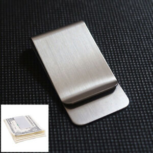 1x Stainless Steel Money Clip Double Sided Slim Pocket Cash ID Credit Card Clamp
