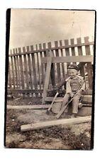 Vintage RPPC LITTLE BOY GUN RIFLE FISHING POLE ROD CREEL AXE REAL PHOTO POSTCARD