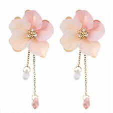 New Women Fashion Acrylic Crystal Flower Drop Dangle Earrings Long Chain Jewelry