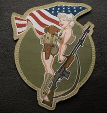 BAR GIRL PIN UP USA ARMY MORALE MILITARY COMBAT TACTICAL FULL COLOR HOOK PATCH