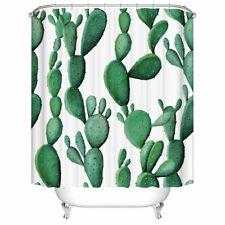 72 in Shower Curtain Decor Set Cactus Pattern Green Art Bath Curtains +12 Hooks