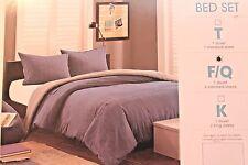 Ink + Ivy Reece Full Queen Duvet Bed Set Blue Denim Reversible Khaki Stripe NEW