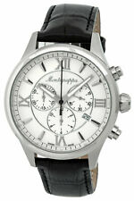 Montegrappa Fortuna Chronograph White Dial Black Leather Men's Watch IDFOWCLJ
